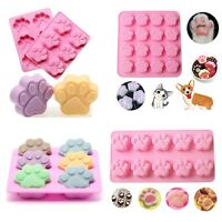 Cat Dog Paw Print Silicone Cookie Cake Candy Chocolate Mold Soap Ice Cube Mold