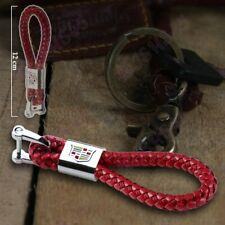 Red BV Style Leather Gift Decoration For CADILLAC Emblem Logo Key Chain Ring New