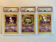 3x LOT Pokemon Mew + Mewtwo PSA 9 MINT Holo/Secret Rare/Black Star/WOTC - CLEAN
