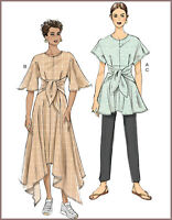 V9363 Sewing Pattern VERY EASY Close-Fitting Shaped Waist Tunic Dress Pants