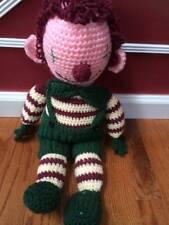 "Vintage Handmade Doll Pink Face Crochet Stuffed Doll in Green Jumper  24"""