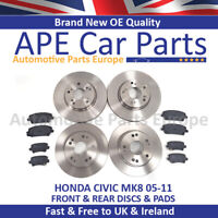 Fits Honda Civic MK8 1.4 1.8 2.2 CDTi 05-11 Front & Rear Brake Discs & Pads NEW