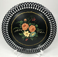 Vintage Toleware Black Floral Reticulated Tray Round Hand Painted 9""