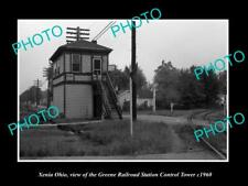 OLD POSTCARD SIZE PHOTO OF XENIA OHIO, THE GREENE RAILROAD STATION TOWER c1960