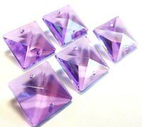 6 Lilac Purple 22mm Square Chandelier Crystals Suncatcher Lavender
