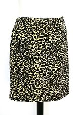 Vintage body con skirt - 1990s velour yellow leopard stretchy - Mirage- UK 10/12