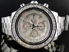 Custom Brand New Mens Breitling Super Avenger 1 Row Big 51 Mm Diamond Watch 9 Ct