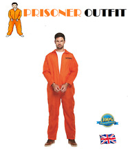 PRISONER COSTUME Convict Costume Fancy Dress Stag Overalls Jumpsuit & Handcuff