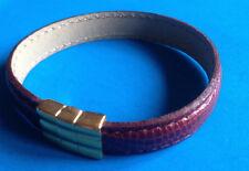 Bracelet Ouvrant en Cuir Façon Lézard Bordeaux / Leather Bracelet