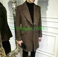 Mens Warm Wool double-breasted lapel trench long coat jacket parkas Overcoat New
