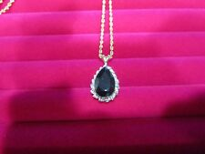 "Gorgeous  Black onyx with Diamond Pendant in 14 k yellow gold, 7.5 grams, 20"""