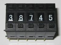 5 X Huari BCD Thumb 2 Pushbutton Switch - 10 Positions - 28V DC - 100 mA - 0-9