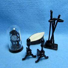 Dollhouse Miniature Metal Fireplace Tool Set Clock Bellows Wood Stands Im66234