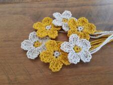 6 Mustard Crochet Flowers Applique Craft Scrapbooking Card Making Easter Bonnet