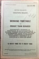 Working Timetable - Section PD 1985/6 - **FREE P&P**