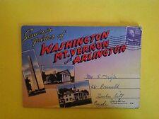 VINTAGE LETTER CARD POSTCARD OF WASHINGTON MT VERNON & ARLINGTON