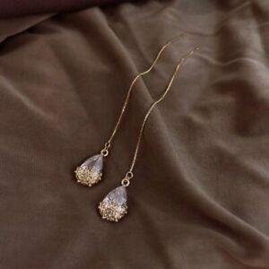 925 Sliver Long Water Drop Threader Earrings Women Crystal Ear Line Jewelry New