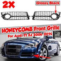 Black Honeycomb Front Bumper Lower Fog Lamp Grille Covers For Audi TT 8J