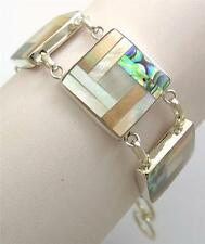 Natural Abalone Shell Mother of Pearl 925 Sterling Silver Bracelet Jewelry SF026
