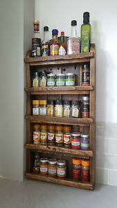 Handmade Rustic Wooden Spice Rack Kitchen Storage (Wall Mountable On Request)