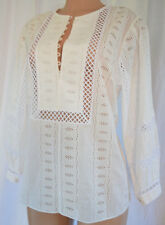 OSCAR DE LA RENTA Embroidered White Cotton3/4 Sleeves Blouse Top Size 12