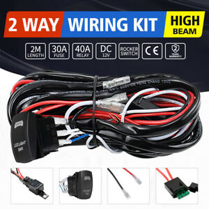 LED Wiring Loom Harness Kit W/ Rocker Switch Driving light Bar 12V 40A Relay