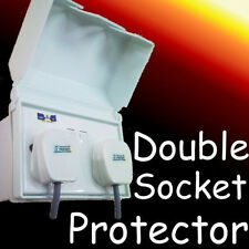 weatherproof double 13a socket cover protector white