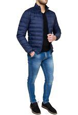 Piumino uomo Cristiano Battistini giubbotto blu imbottito in vera piuma d'oca