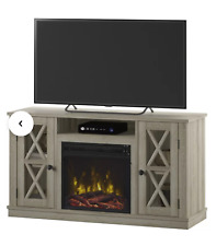 Palm pine Rustic TV Stand Entertainment Center Barn Door Wood with Fireplace
