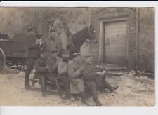 WW1 Foto AK Russland Россия Villa 1915 Soldaten Schlitten Baby Hund