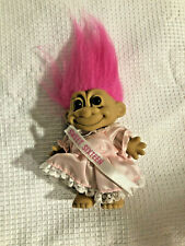 Vintage Russ Troll Doll Sweet Sixteen Pink Dress With Hot Pink Hair 5 Inch