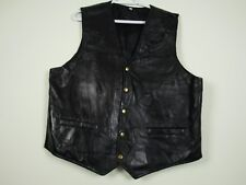 Mens Hunter's Ridge 2XL Black Patchwork Design Genuine Leather Biker Vest EUC