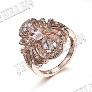 14K Rose Gold Oval 7x5mm Morganite Natural SI/H Diamonds Engagement Wedding Ring