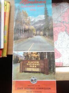1950 Montana Official Road Map from State Highway Glacier N Park
