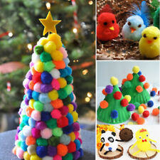 2000 PCS Plush Ball Pompoms Arts and DIY Decorations Round Shaped for Kids 1cm