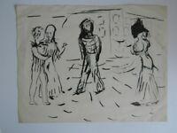 Lucien Coutaud Dibujo Tinta China Cepillo Paño Fondo Coutaud 1904-1977