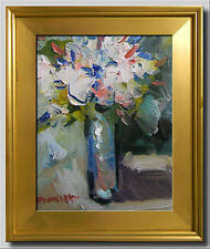 JOSE TRUJILLO FRAMED Oil Painting IMPRESSIONIST WHITE FLOWERS MODERNIST ABSTRACT