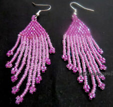E19 Rosa Perlas De Vidrio Pot Mano Trabajo Mujer Hooked Damas regalo pendiente Nepal India