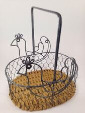 Country Chicken Wire Metal Weave Egg Basket Primitive Style