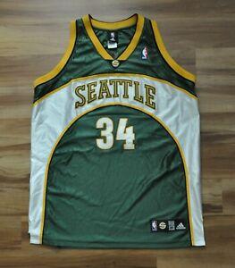 RAY ALLEN SEATTLE SONICS REEBOK AUTHENTIC JERSEY GREEN NBA SEWN 48 XL