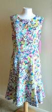 NWT Betsey Johnson Sz 10 Watercolor Floral Laser Cut Scuba Dress Flare