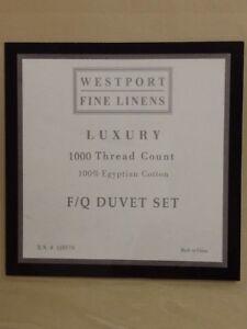 Westport Home Luxury 1000TC Egyptian Cotton Sateen FUll/Queen Duvet Set NIP