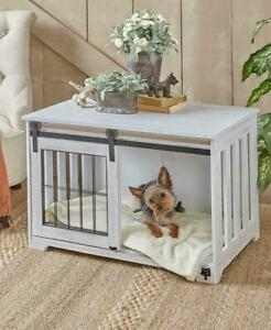 Rustic White Farmhouse Barn Door Dog Pet Crate Kennel Cage Country Bed
