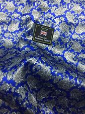 Royal Blue Paisley Printed Satin Jacket Lining Dress Fabric.