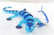 Gecko Hand Blown Glass Ornament Turquoise with Blue