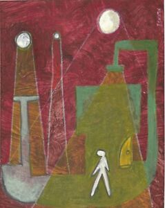 NIGHT original abstract/folk/outsider? Canadian mixed media painting J.Swinton