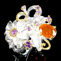 Special Price! Natural Orange Opal 925 Sterling Silver Ring Size 8.5/R113127