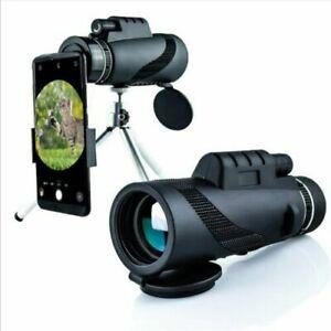 80X100 HD Monocular Telescope Phone Camera Zoom Starscope Hiking Tripod Tools
