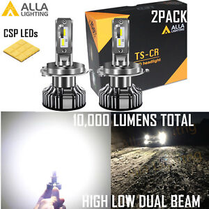 Alla Lighting H4 LED Short hd-light  hi   lo  Beam|DRL Bulb Replacement White 2x
