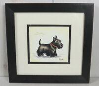 Black Scotty Dog Framed Signed Numbered Print Picture Lyndi Lende Dog Artwork